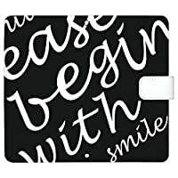 OPPO A73 ケース [デザイン:6.黒×白/マグネットハンドあり] タイポグラフィー オッポ 楽天モバイル a73 手帳型 スマホケース スマホカバー 手帳 携帯 カバー