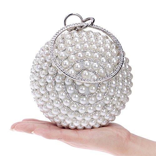 WEATLY Bolso del Vestido de Noche del Monedero del Embrague de la Bola del Bolso de la Perla de Las Mujeres (Color : Silver)