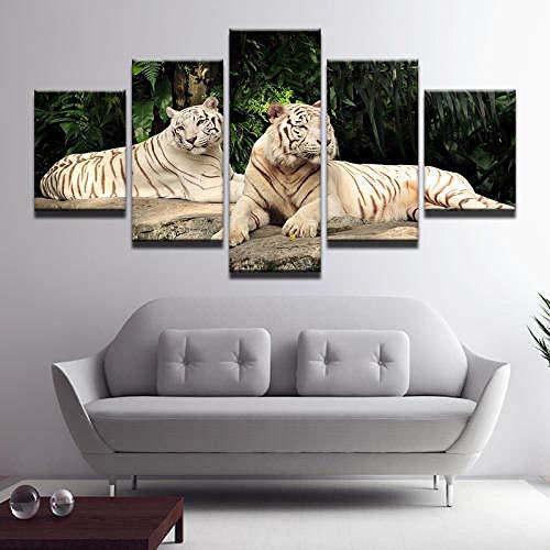 QMCVCDD Moderno Cuadro En Lienzo 5 Piezas Animales Dos Tigres HD Poster Pictures Paintings Home Decor Impresión Artística Fotográfico Regalo -Sin Marco