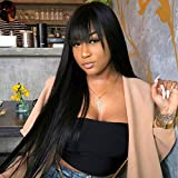 Vigorous Black Long Wig with Bangs Synthetic Long Straight Wigs for Women 28 inches Daily Wear Heat Resistant Costume Full Wig(1B)