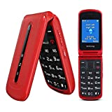 Ushining 3G Unlocked Flip Cell Phone for Seniors & Kids, Dual SIM Big Button Flip Phones with 2.4'' Large Screen, SOS, VGA Camera, Easy to Use for Elderly (Red)