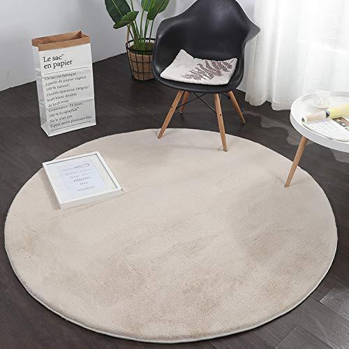 Alfombra suave y cálida gruesa para sala de estar, redonda, 180 cm