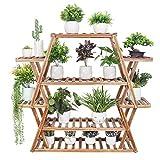 medla Estanterias para Macetas de Madera, Soporte para Plantas con 8 Estantes Estantería Decorativa de Flores para Jardín Exterior Interior 95 x 25 x 105,5cm(12-20 macetas)