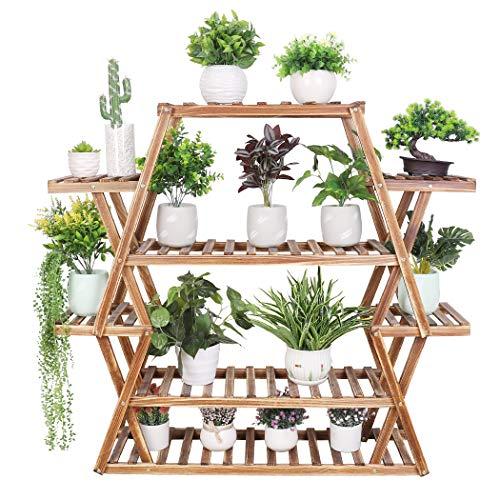 Medla Estantería para Macetas de Madera, 95 x 25 x 105.5cm Soporte para Plantas con 8 Estantes, Estantería Decorativa de Flores para Jardín Exterior Interior