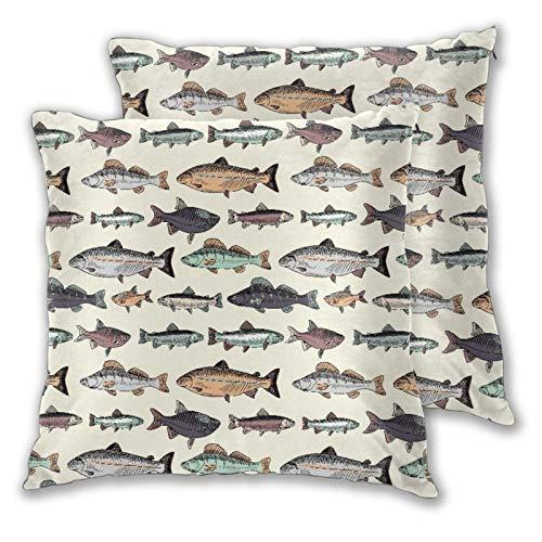 BROWCIN 2 Pack Kissenbezüge Nahtloses Muster mit Vintage Hand gezeichneten Fischen drucken Quadratische Kissenhüllen für das Wohnzimmer-Sofa, Schlafzimmer 45cm x 45cm