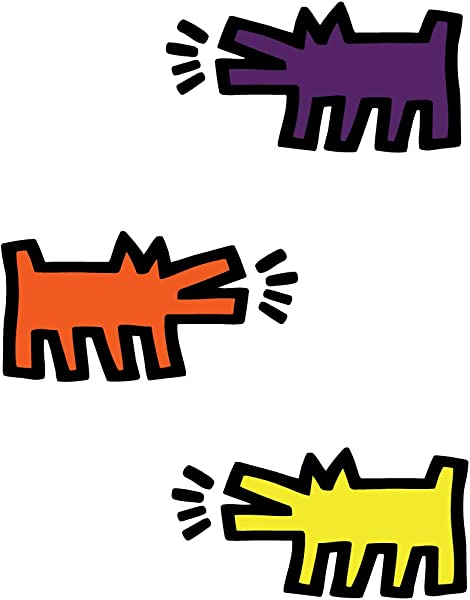 BLIK Keith Haring Barking Dogs Removable Wall Decals Officially Licensed Keith Haring Art Assorted Colors Set Of 3 Decals 22 X 11 Inches