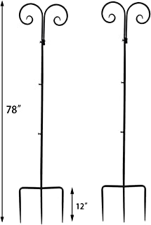 Vencer Set of 2 Double Shepherd Hook 78 Inch Heavy Duty 7/10 in Thick Rust Resistant Premium Metal Hook for Weddings Hanging Plant Baskets Solar Lights Christmas Lights Lanterns Bird Feeders,VHH-002