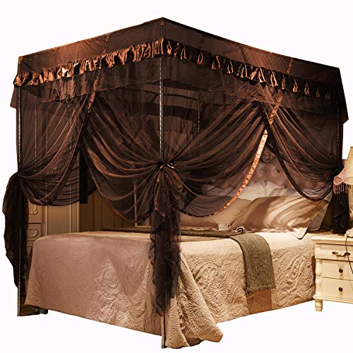 Mengersi 4 Corners Post Bed Curtain Canopy for Adults - Royal Luxurious Mosquito Net(King, Coffee)