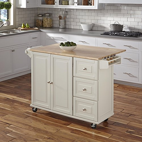Liberty White Kitchen Cart with Wood Top by Home Styles