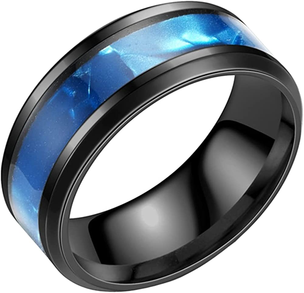8mm Stainless Steel Imitation Clam Shell Inlay Wedding Band Cocktail Party Ring