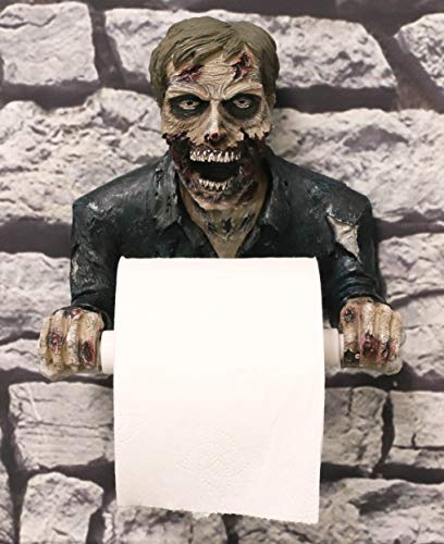 Ebros Grotesque Rotten Walker Undead Zombie Slave Bust Decorative Toilet Paper Holder Figurine 8″ Tall Bath Powder Room Bathroom Wall Decor Plaque for Halloween Macabre Ossuary Spooky Themed Statue