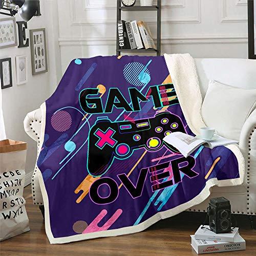 Homewish Manta de acuarela para videojuegos, súper suave, ligera, de dibujos animados, videojuegos, manta de forro polar, para viajes, hogar, cama de bebé, 76,2 x 101,6 cm