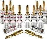 Poppstar - Clavija Banana, para Cable de hasta 4 mm Cuadrado atornillar o soldar 6mm Cuadrado, contactos Dorados de 24k, Set de 12 Piezas
