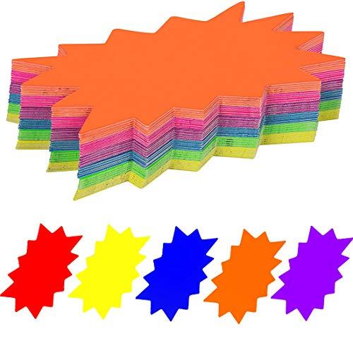 50 PCS Signos 12 * 16cm Etiquetas de precio de papel de neón para la tienda minorista Fiesta Venta de automóviles Oficina 5 Etiquetas de pantalla a color brillante