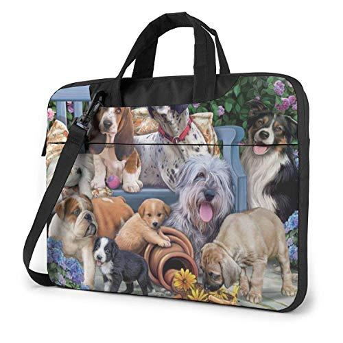 Honden op een bank laptop hoes vallen 15,6 inch computerboodschappentas schouder Messenger aktetas