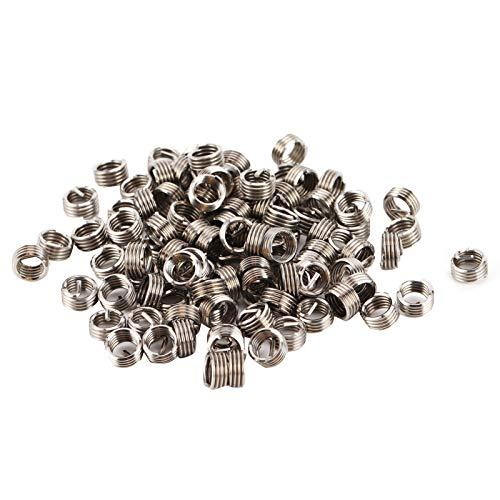 Kit de inserción de reparación de roscas de 100 piezas, conector de perno de sujeción industrial de acero inoxidable 304, manga de reparación de roscas de alta resistencia M6x1x1D