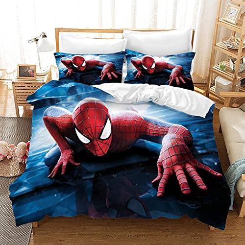 MDNUER Colchas Cama 150 Spiderman Avengers Funda Nordico 220X240Cm para Infantil Y Adultos Superheroes Juego De Cama Rojo Microfibra Suave Cómodo con 2 Funda Almohada 50X80Cm