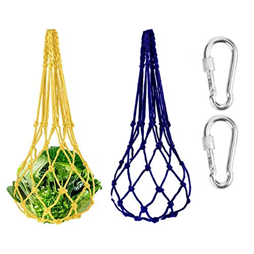 BAIHUI 2PCS Chicken Vegetable String Bag Poultry Fruit Holder Chicken Cabbage Feeder Treat Feeding Tool with Hook for Chicken Coop Cage (Yellow+Blue)