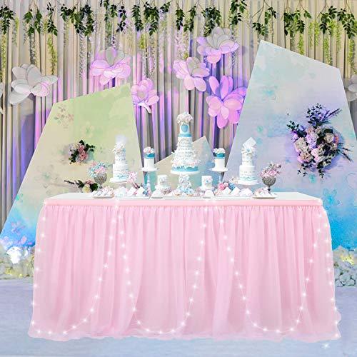 HBBMAGIC Faldón de mesa LED de tul rosa Tü falda de mesa para fiestas, decoración para bodas, cumpleaños, Candy Bar, Navidad (rosa LED, 183 cm x 76 cm)