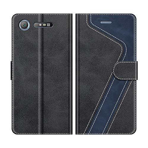 MOBESV Handyhülle für Sony Xperia XZ1 Hülle Leder, Sony Xperia XZ1 Klapphülle Handytasche Case für Sony Xperia XZ1 Handy Hüllen, Modisch Schwarz