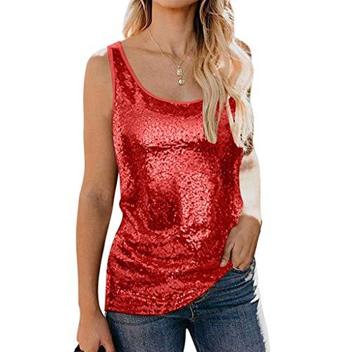 Auifor dames pailletten tanktops vrijetijdskleding mouwloze ronde hals glitter camisole shimmer vest uitgaan tops