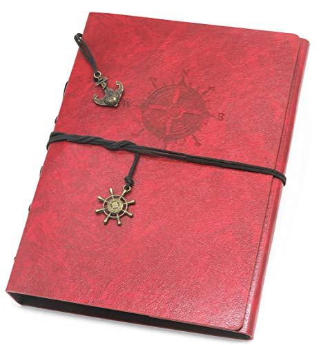 Smiling Art Fotoalbum mit Kompass Cover zum selbst gestalten/basteln, zum einkleben, DIY Scrapbook, Deckblatt aus Kunstleder als Stammbuch Gästebuch oder als Geschenk