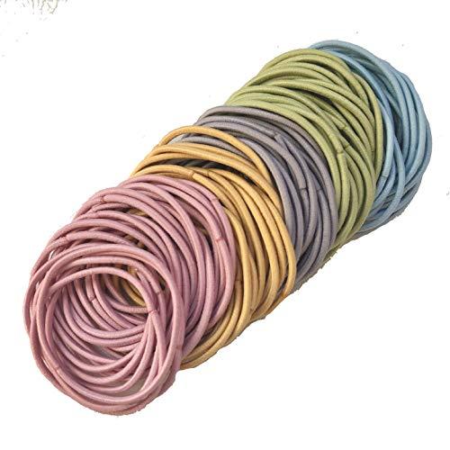 【ラッピングファクトリー】大容量 カラー 約100本セット ヘアゴム 結び目なし 金具なし ハンドメイド ヘアアクセサリー (スモーキーカラー)