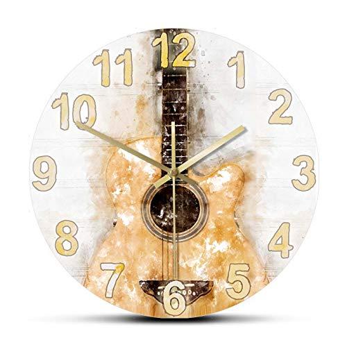xinxin Reloj de Pared Acuarela Guitarra acústica Reloj de Pared Impresión de Arte Musical Colgante Reloj de Pared silencioso Guitarra clásica Decoración de Sala de música Guitarrista Regalo