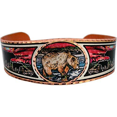 Pulsera de cobre con diseño de oso grizzly al atardecer, joyería para mujer, unisex, de moda