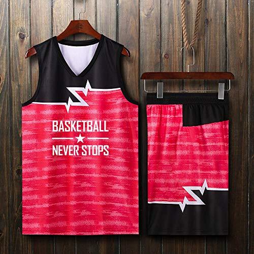 LHDDD NBA Baloncesto Uniformes Camiseta Manga Corta, Uniforme Baloncesto All-Star, Uniforme Deportivo Personalizado para Estudiantes Sudadera Transpirable Camiseta Deportiva Ropa Deporte Red-XXL