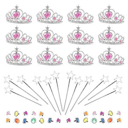 Princess Pretend Halloween Costume Dress Up Play Set - Crowns, Wands, and Jewels - Princess Girls Party Favors - Princess Costume Party Play Set, (12 Princess Crown Tiaras, 12 Wands, 24 Rings)