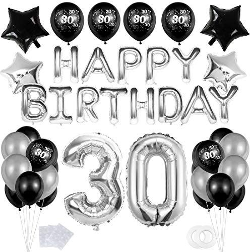 """30 Decoración Fiesta Negro plata Cumpleaños,""""Happy Birthday"""" Bandera Banner;Clásico Número 30 Globo;Balloon de Látex&Estrella para el Cumpleaños de 30 Años impresión para Niño Hombres Niña Mujer"""