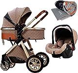 YZPTD 3 en 1 carruaje de Cochecito de bebé Plegable, Cochecito de Peso Ligero con implementación bidireccional, absorción de Golpes, Cochecito de Cochecito con Bolsa de mamá y Cubierta de Lluvia