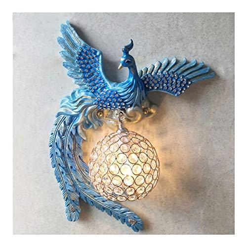 Phoenix lámpara de pared creativa de la lámpara de pared Luz de lujo Dormitorio Sala de la lámpara de pared de cristal Sala de TV pared del balcón de noche pared caliente azul E14 (tamaño : Left)