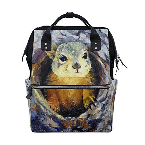 Tizorax Little Squirrel dans le trou Peinture Diaper Sac à dos Grande capacité bébé Sac multifonctions Sacs à couches de voyage Maman Sac à dos pour bébé Care