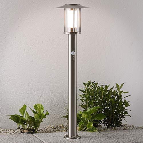 Lampenwelt LED Außenleuchte 'Gregory' mit Bewegungsmelder (spritzwassergeschützt) (Modern) in Alu aus Edelstahl (A+, inkl. Leuchtmittel) - Wegeleuchte, Pollerleuchte, Wegelampe, Sockelleuchte