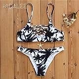 WORCSDJA Bikini Set Traje De Baño Mujer Traje De Baño Coco Árbol Estampado De Ganchillo Vendaje Corte Playa Ropa De Baño Traje De Baño Traje De Baño