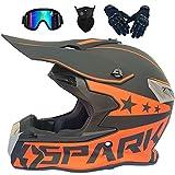 LCRAKON Cascos de Motocross MJH-02 Casco Moto Niño Adulto Homologado Dot Cascos Integrales Hombre Mujer para Enduro Quad Bike Bici Motos Electricas Minimoto BMX ATV con Gafas Descenso - Negro Rojo