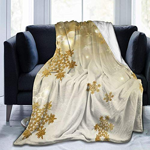 Micro Fleece Blanket Throw Blanket Gold Silk Christmas Print Ultra-Soft Light Weight Cozy Warm Fluffy Plush Blanket Microfiber for Bed Couch Chair Living Room Otoño Invierno Primavera 80x60 Inch