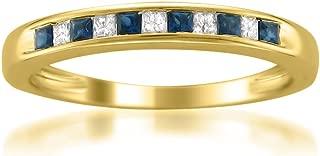 14k Yellow Gold Princess-Cut Diamond and Blue Sapphire Wedding Band Ring (1/3 cttw, H-I, I1-I2)