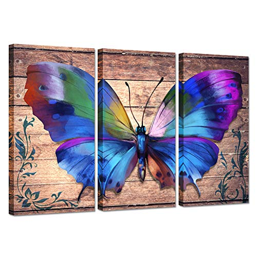 3 Piece Canvas Wall Art With Colorful Butterfly On Vintage Wood Background