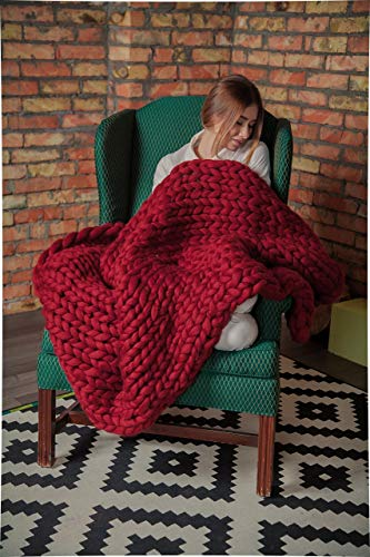 Ready to ship! Chunky Knitted Blanket, Home Decor, Merino Wool Giant Knit, Throw Blanket, Wedding gift, Anniversary Gift, Bulky Hand Knit Blanket, Gift Mother's Day, Cherry Dark Red