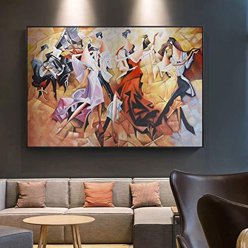 N/A Dekorative Drucke aus Leinwand Abstrakte BankettDame Party Karneval Klavier Leinwand Malerei Mittelalter Plakate für Wohnzimmer Gang Home Decor Wandkunst-40x60cm