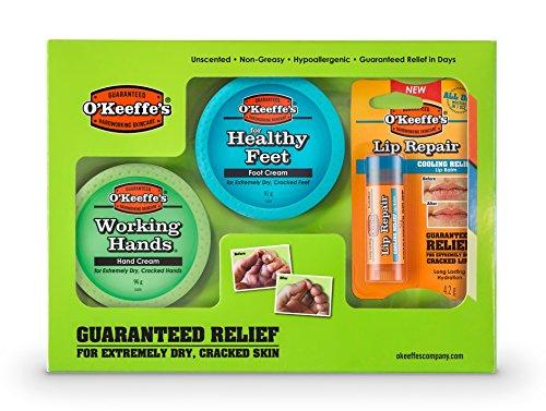 O'Keeffe's Skincare Working Hands, Healthy Feet and Lip Repair, Jar Multipack
