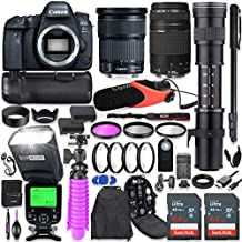 Canon EOS 6D Mark II DSLR Camera Kit with Canon 24-105mm STM & 75-300mm Lenses + 420-800mm Telephoto Zoom Lens + Battery Grip + TTL Auto Flash + Comica Microphone + 128GB Memory + Accessory Bundle