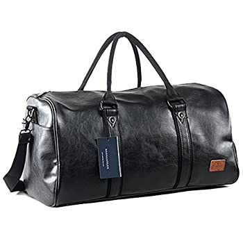 Weekender Oversized Travel Duffel Bag With Shoe Pouch Leather Carry On Bag