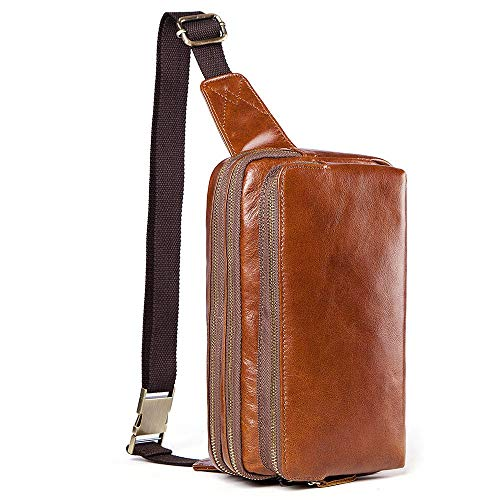 WENQU Honda mochila bolsa de cuero de los hombres de pecho bolsa de cuero de vaca principal de la capa del ocio del bolso de hombro sin repartir Carrefour Mochila Moda for hombres o Fanny Pack for hom