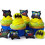 Cakegirls (24 Batman Cupcake Rings Kit - Batman Symbol Image Joker Toppers (30) Blue Foil Cupcake Liners (4oz) Blue Sugar Sprinkles