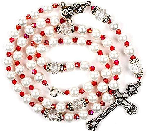 LKLFC Collar para Mujeres Hombres Perlas de Vidrio 8 mm Perlas Regalo religioso Rosarios Cristal Brillante Rosario Católico Collar Colgante Collar Niñas Niños Regalo