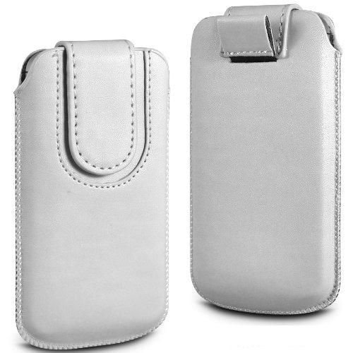 N4U Online Weiß Premium-PU-Leder Pull Tab Flip Tasche für Huawei Ascend P1 mit magnetischem Verschluss Strap
